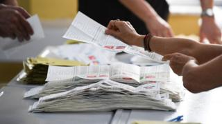 Close-up of paper ballots as votes are counted in the Turkish election on June 24, 2018 in Istanbul, Turkey.