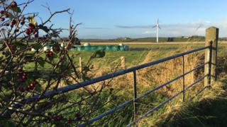 A view of the wind turbine in the field