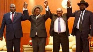 Riik Machaar, Yuweerii Museveenii, Omas Al Bashir fi SAlva Kiir