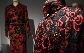 A detailed black and red Yves Saint Laurent dress
