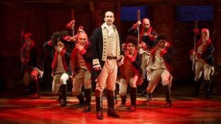 "Lin-Manuel Miranda (centre) performs in the musical ""Hamilton"" in New York on 12 June"