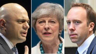 Sajid Javid, Theresa May and Matt Hancock