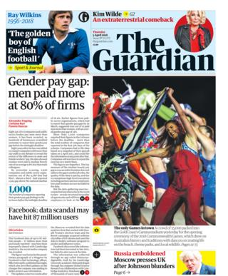 Guardian front page 5th April