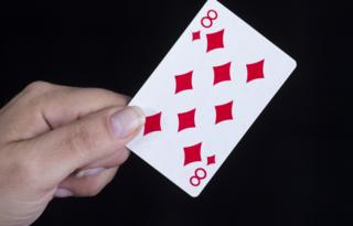 Playing card of eight of diamonds