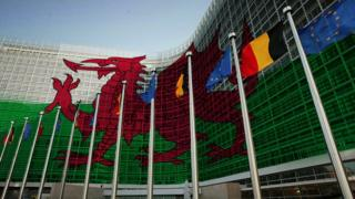 Wales flag on European Commission
