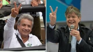 Los dos candidatos a la presidencia de Ecuador que se enfrentarán en la segunda vuelta: el oficialista Lenín Moreno y el empresario opositor Guillermo Lasso.