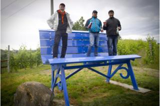The Big Blue Bench is located in the Gallo family vineyard
