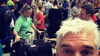 Phillip Schofield posts a photo of delays at Heathrow