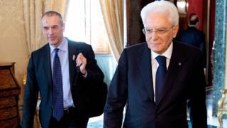 Carlo Cottarelli ve Cumhurbaşkanı Sergio Mattarella