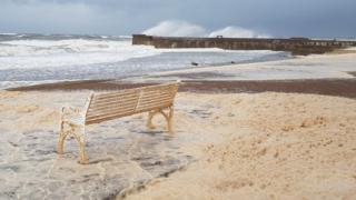 Crashing waves at Prestwick seafront