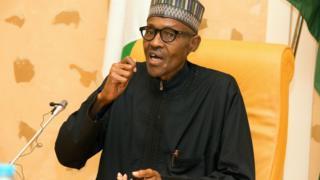 Aarẹ Buhari n sọrọ.