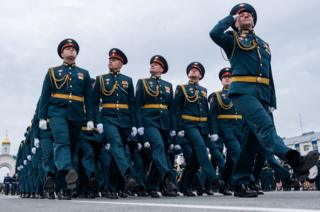 in_pictures Servicemen march during a Victory Day military parade