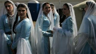 Chechen women in traditional dress, 2007 file pic