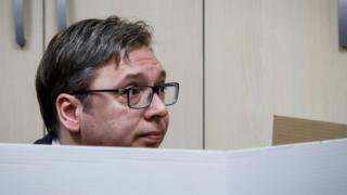 Current Serbian Prime Minister and presidential candidate Aleksandar Vucic prepares to cast his ballot at a polling station on April 2, 2017 in Belgrade, Serbia