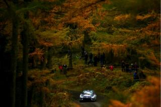 Sebastien Ogier of France and Volkswagen Motorsport drives with co-driver Julien Ingrassia of France and Volkswagen Motorsport during the Wales Rally GB 2016 Shakedown at Clocaenog Forest on 27 October 2016 in Mynydd Hiraethog, Wales.