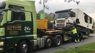 The lorry was removed from the scene on Thursday morning