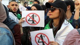 متظاهرة في الجزائر