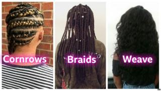 Cornrows, braids and weave