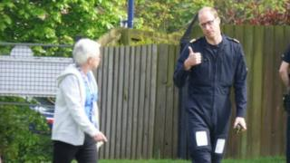 "Prince William giving the ""thumbs up"""