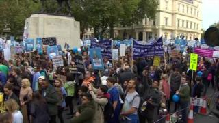 Doctors have been assembling to protest in central London