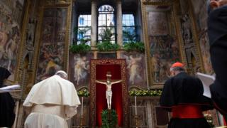Pope Francis prays in Apostolic Palace in the Vatican
