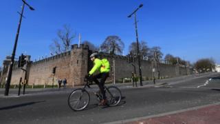 cyclist in Cardiff