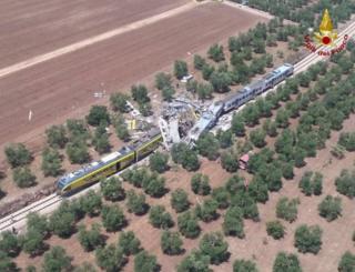 Accidente de tren cerca de Andria, Italia