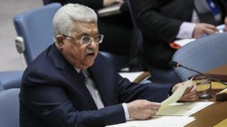 محمود عباس يلقي خطابا في مجلس الأمن في 20 فبراير/شباط 2018