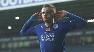 Vardy celebrates his winning goal against West Brom.