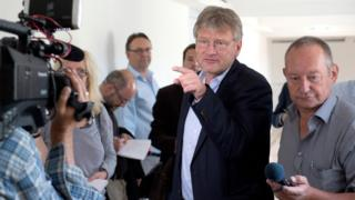 Joerg Meuthen, co-leader of AfD, talks to journalists (6 July)