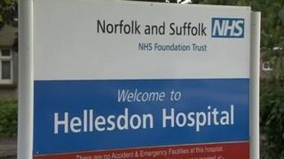 Hellesdon Hospital sign