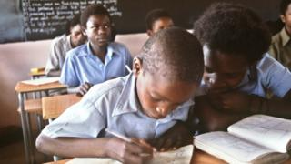 Children in a school in Zimbabwe in 1984