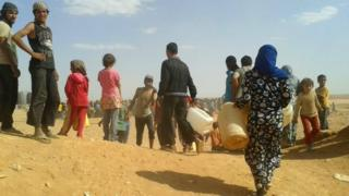 Syrian refugees at the Rukban refugee camp on Jordan's border with Syria. Photo: June 2016