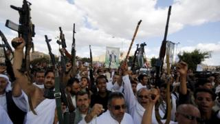 Houthi followers in Sanaa, 11 September 2015