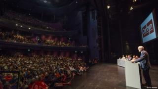Jeremy Corbyn addressing a rally of his supporters in Salford on Saturday