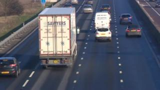 All lane running on the M6 in Staffordshire