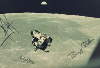 Rare signed photograph taken during the first moon landing