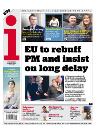 The i newspaper Wednesday