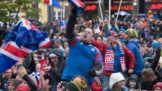 Jubilation in Reykjavik after the match ended