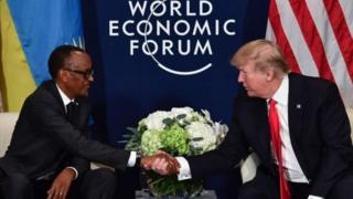 Rais Kagame na mwenzake Donald Trump walipokutana katika mkutano wa kiuchumi duniani