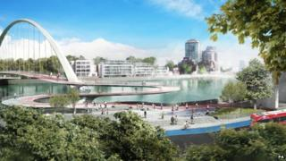 Artist impression of proposed Thames Bridge by Ove Arup Partners