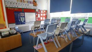 Northern Ireland Empty classroom