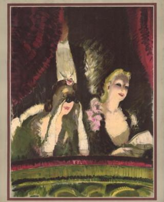 Poster showing two women at the theatre