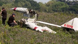 Wreckage of microlight