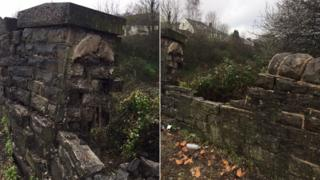 A damaged railway bridge in Pontypridd