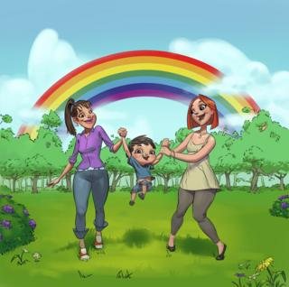 Image of two women and a kid from Rainbow Families book