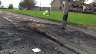 Engineers were fixing street lighting in Galliagh on Friday, following the trouble