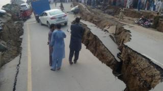 Damaged road in Jatlan village, near Mirpur, Pakistan-administered Kashmir Photo: 24 September 2019