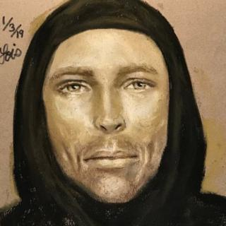 A composite sketch of suspected gunman