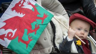 The iconic Welsh flag